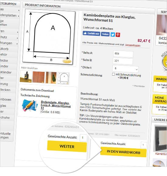 eCommerce Kaminscheibe Automatyczne wyliczanie ceny