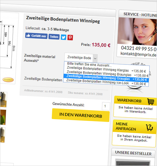 eCommerce Kaminscheibe Producty typu Bundle